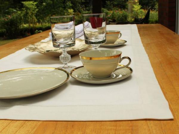 Leinen-Tischläufer, altweiß, mit Briefecke, 50x170