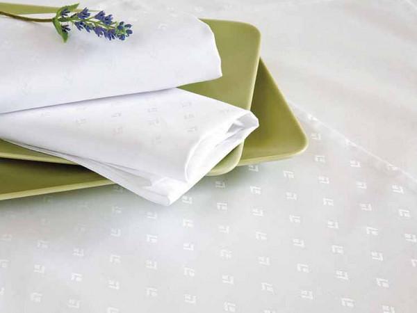 6 Damast-Servietten Leila, weiß, mit dezentem modernem Muster, 50x50