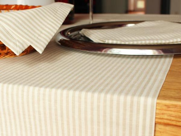 Leinen-Tischläufer, gestreift, 50x170