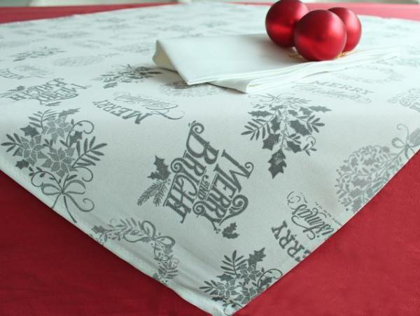Weihnachtstischdecke Lutz, champagner-silber, mit Schrift, 85x85