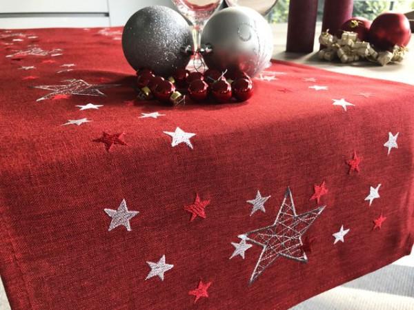 Weihnachtstischläufer Nelson, rot, mit Stickerei, 40x140
