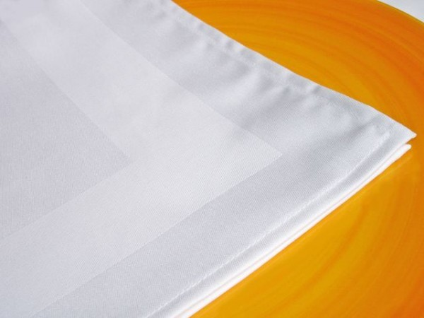 12 Stoffservietten, Padua, weiß, mit Atlaskante, 50x50 cm