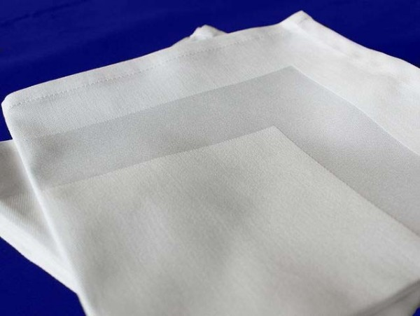6 Stoffservietten, Padua, weiß, mit Atlaskante, 40x40 cm