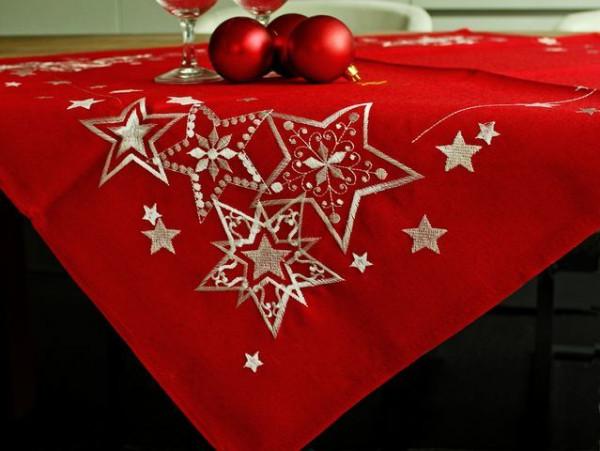 Weihnachtstischdecke Emil, rot-weiß, mit Sternen, 85x85