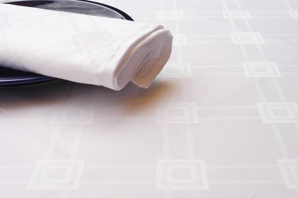 Damast-Tischläufer Milara, weiß, mit elegantem Muster 40x140