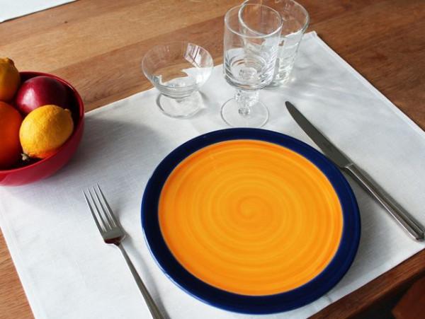 4 Halbleinen-Tischsets / Platzsets, weiß, ohne Muster, 35x50