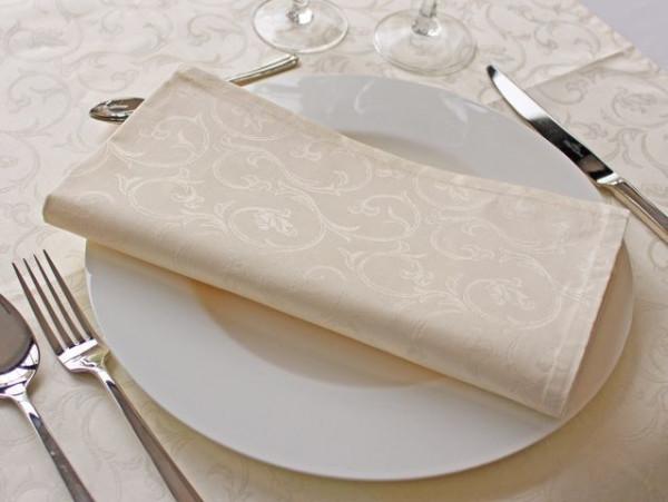 12 Damast-Servietten Sila, sekt, mit floralem Muster, 50x50