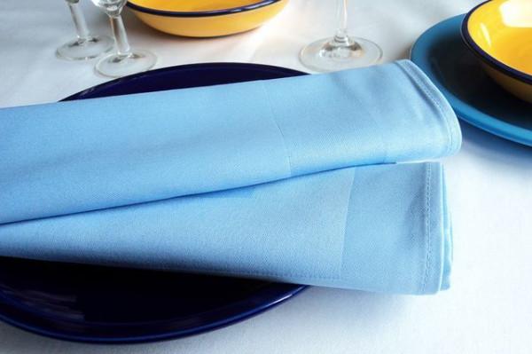 6 Stoffservietten, Padua, hellblau, mit Atlaskante 50x50