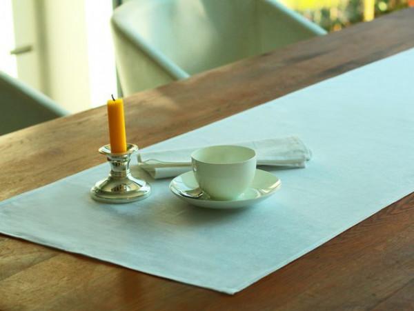 Leinen-Tischläufer, weiß, ohne Muster, 45x160