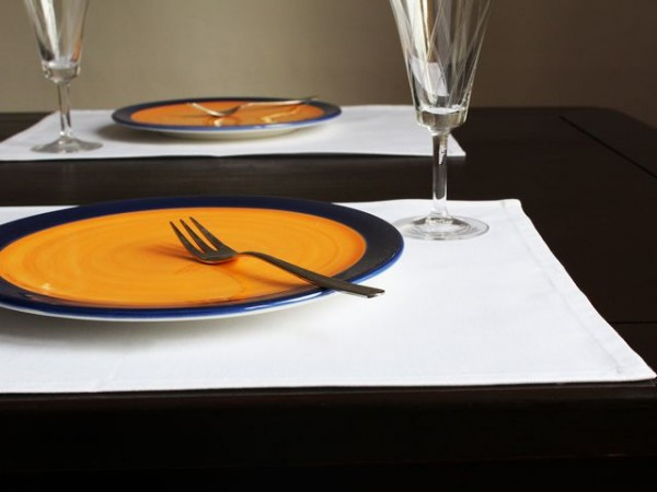 4 Tischsets / Platzsets Klara, weiß, ohne Muster, 35x40