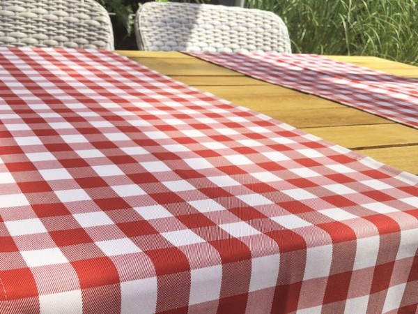 Tischläufer, rot-weiß kariert, 40x130