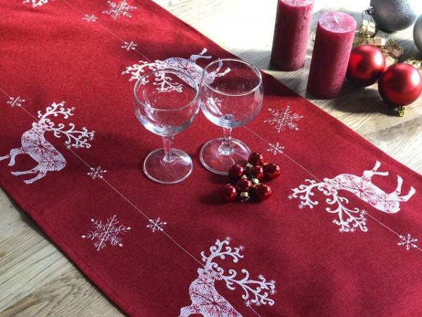 Weihnachts-Tischläufer Wicki, rot-weiß mit Hirschen, 40x200