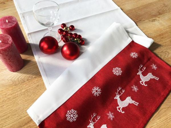 Weihnachtstischläufer Kurt, rot-weiß, mit Elchen, 40x140