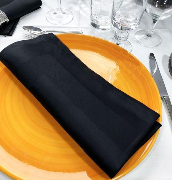 12 Stoffservietten Padua, schwarz, mit Atlaskante, 50x50