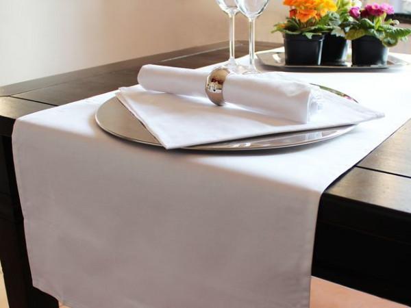 Tischläufer, weiß, mit Atlaskante, 40x130